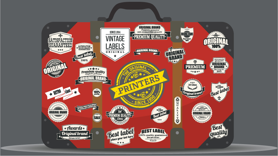 Suitcase covered with stickers