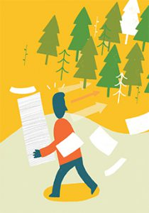 Illustrated graphic of paper and trees from TwoSidesna.org