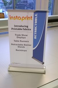 Photo - sample product of table-top mini retractable banner stands