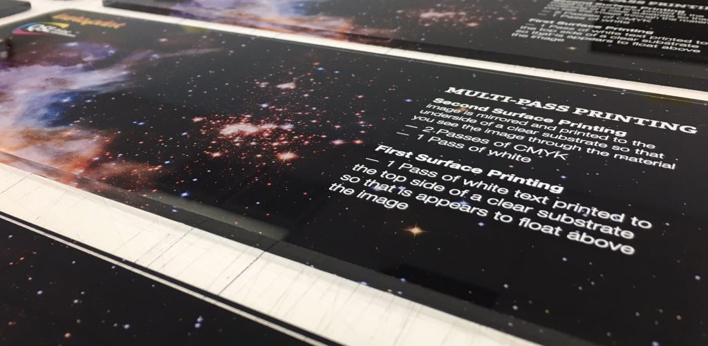 Dimensional Acrylic Signs with Hubble background
